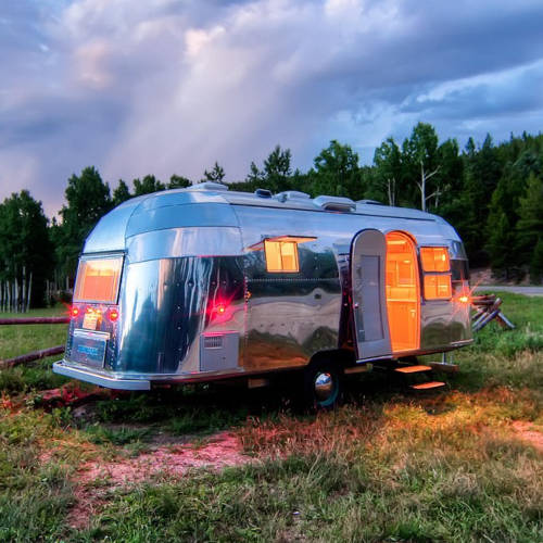 Restored Airstream style camping trailer